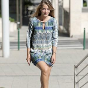 model photography young blonde woman in blue dress - modell fotó fiatal kék ruhás szőke nő